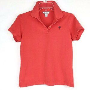 Lilly Pulitzer Coral Red Polo with Black Palm Logo